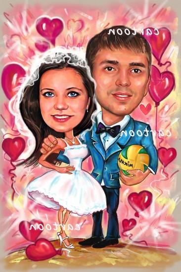Свадебный шарж с оригинальным сюжетом в Чебоксарах!