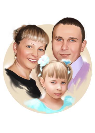 Семейный портрет по фото на холсте в Чебоксарах — правильный подарок!