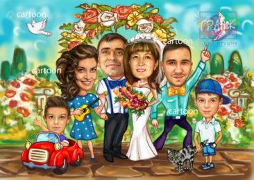 Шарж по фото на годовщину свадьбы на заказ в Чебоксарах…